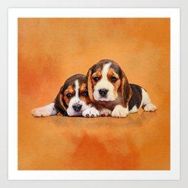 Cute Beagle puppies Art Print