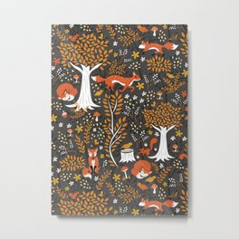 Autumn Foxes in the Forest Metal Print