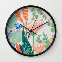 Proteas and Birds of Paradise Painting Wall Clock