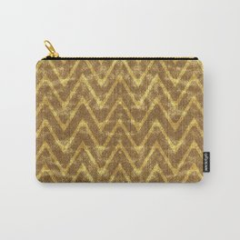 Faux Suede Chocolate and Gold Chevron Pattern Carry-All Pouch