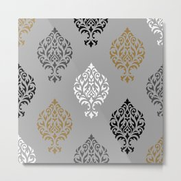 Orna Damask Ptn BW Grays Gold Metal Print