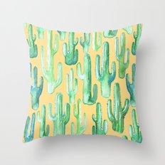 cactus yellow Throw Pillow