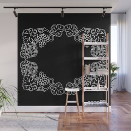 Abstract frame with bunches of grapes Wall Mural