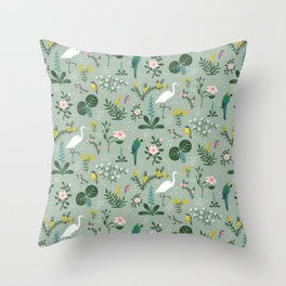 """""""Tropical Birds and Flowers"""" on Sage Green by Bex Morley Throw Pillow"""