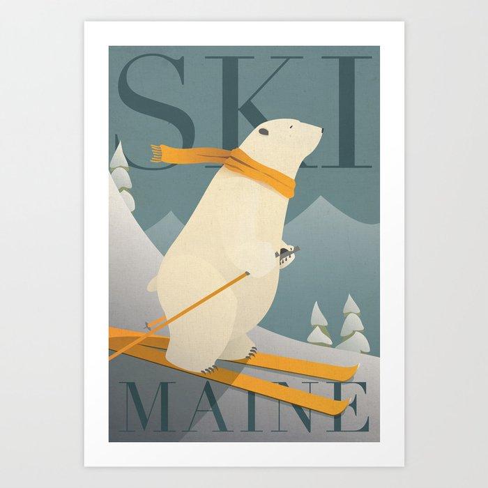 Ski Maine - Skiing Polar Bear Kunstdrucke
