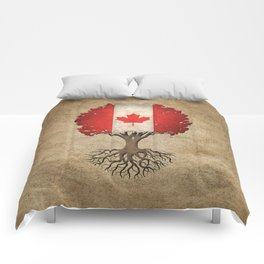 Vintage Tree of Life with Flag of Canada Comforters
