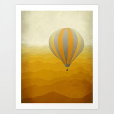 Hot Air Balloon in Yellow Grey Art Print