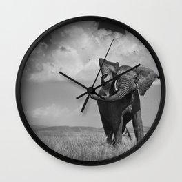 Elephant Throwing Dirt Wall Clock