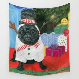 Christmas Time Pug Wall Tapestry
