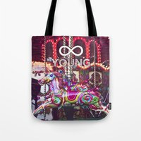 forever young Tote Bags featuring Forever Young by farsidian