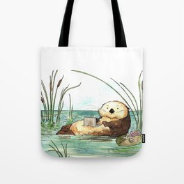 Otter on a Laptop Tote Bag