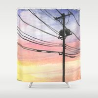 telephone Shower Curtains featuring Telephone Wires by Robin Ewers