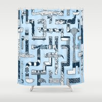 bathroom Shower Curtains featuring Which Way To The Bathroom? by Chris Varnum