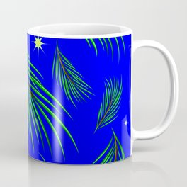 Background made of fir branches and stars. Winter pattern for design in green and blue tones. Coffee Mug