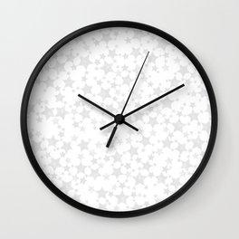 Block Print Silver-Gray and White Stars Pattern Wall Clock