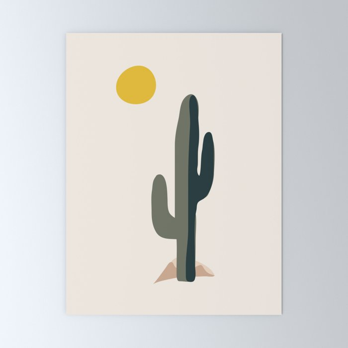 Cactus and the Rising Sun Mini Art Print