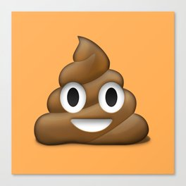 Smiling Poo Emoji (Colored Background) Canvas Print