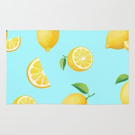 Lemons on Blue Rug