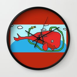 Fire truck whale Wall Clock