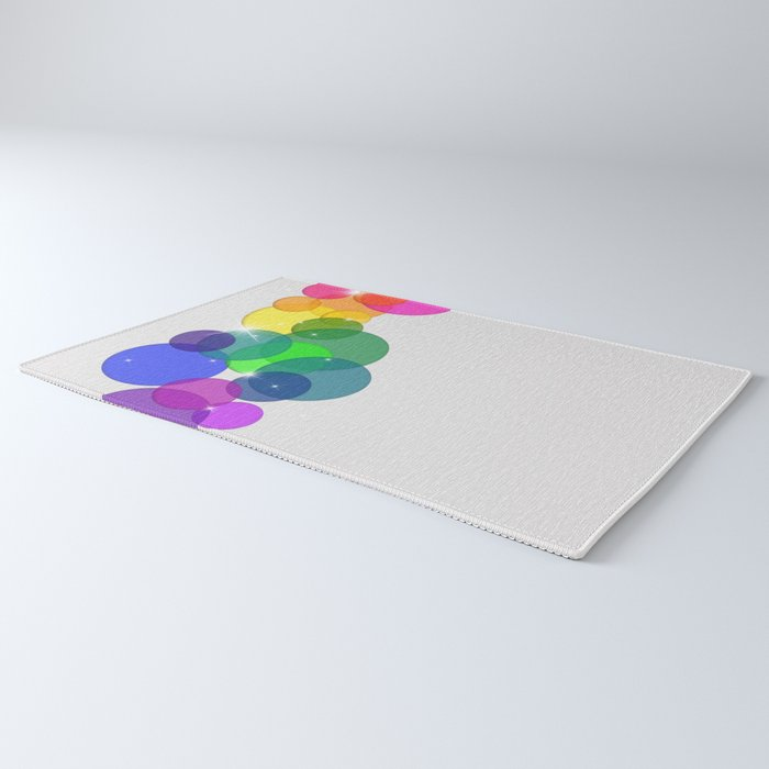 Translucent Rainbow Colored Circles with Sparkles - Multi Colored Rug