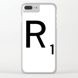Letter R - Custom Scrabble Letter Tile Art - Scrabble R Initial Clear iPhone Case