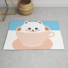 Cute Kawai cat in pink cup, coffee art Rug