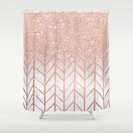 Modern rose gold glitter ombre herringbone chevron pattern on white marble Shower Curtain