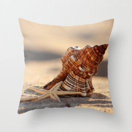 #Light and #Shadow #big #Shell and #starfish at the #beach Throw Pillow