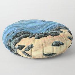 Poipu Beach Landscape Floor Pillow