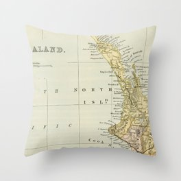 Vintage Map of New Zealand Throw Pillow