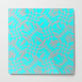 Abstract Warped Checkers Metal Print