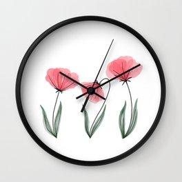 Spring Flower Trio Blush  Wall Clock