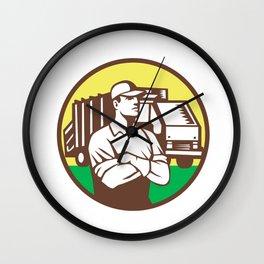Garbage Collector Rubbish Truck Circle Retro Wall Clock