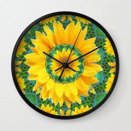 BOHEMIAN YELLOW FLORAL & BUTTERFLIES GREEN PATTERN ART Wall Clock