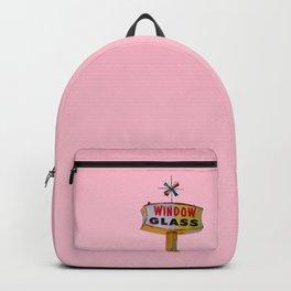 Atomic Pink Starburst - Vintage Googie-Style Sign with Pink Background Backpack