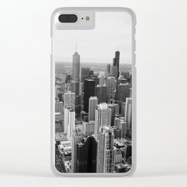 Chicago Skyline - Black and White Photograph Clear iPhone Case
