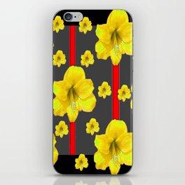 YELLOW AMARYLLIS BLACK-RED DECO ART iPhone Skin