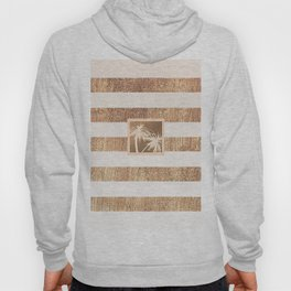 Copper & Cream Stripes & White Palm Trees Hoody