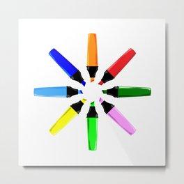 Circle of Highlighter Pens Metal Print