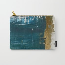 Rain [3]: a minimal, abstract mixed-media piece in blues, white, and gold by Alyssa Hamilton Art Carry-All Pouch