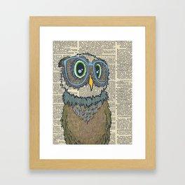 Owl wearing glasses Framed Art Print