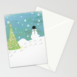Snowman on Christmas Day Stationery Cards