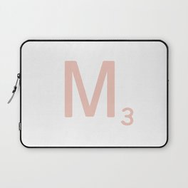 Pink Scrabble Letter M - Scrabble Tile Art and Accessories Laptop Sleeve
