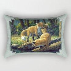 Red Fox Pups Playing Rectangular Pillow