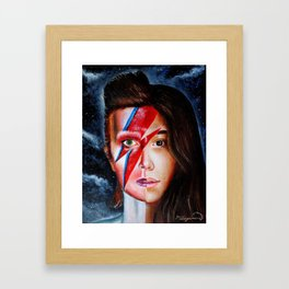 Half Bowie Half  Rowan Blanchard Oil Painting  Framed Art Print