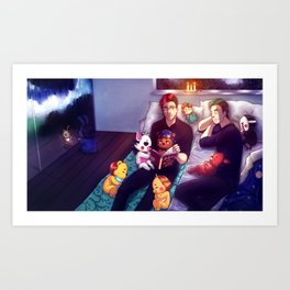 Bedtime Stories with Markiplier, Jacksepticeye and FNAF Art Print