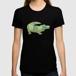 Alligator Crocodile Vintage Floral Pattern Green Teal Mint Blue T-shirt