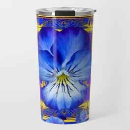 DECORATIVE BLUE PANSY & VINING  MORNING GLORIES Travel Mug