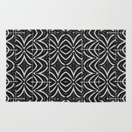 Black and White Tribal Print Rug