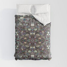 Sparkly colourful silver mosaic mandala Comforters